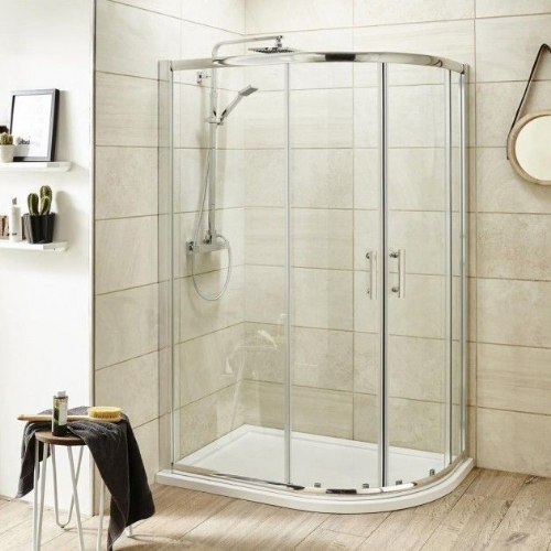 Ice Chrome 900mm x 760mm Offset Quadrant Shower Enclosure